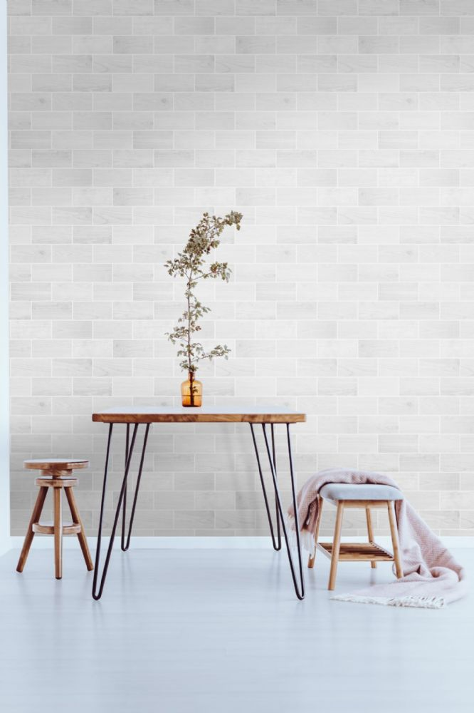 Graham and Brown Wooden Tile Grey 106634 Wallpaper PB